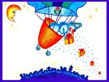 Ein Schneemann gibt Geschenke von einem Ballon aus Stockfotografie