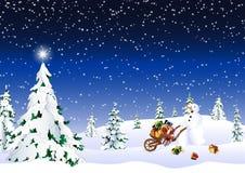 Ein Schneemann holt Geschenke lizenzfreie abbildung