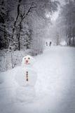 ein Schneemann im Wald Lizenzfreies Stockbild