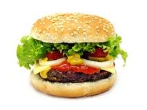 Ein Schnellimbißcheeseburger getrennt stockfotos
