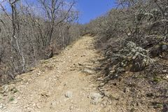 Ein Schotterweg auf einer steilen Steigung krim Stockfotografie