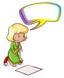 Ein Schreiben des jungen Mädchens mit einem leeren Hinweis Stockbild