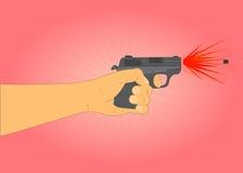 Ein Schuss von einer Pistole Stockfoto