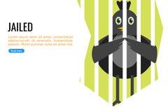 Ein schwarzer Vogel im Gef?ngnis stock abbildung