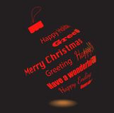 Ein schwarzer Weihnachtsball von gemachten Grußphrasen stock abbildung