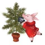 Ein Schwein in einer Strickjacke kleidet oben einen Weihnachtsbaum Neues Jahr Symbol des Jahres 2019 Getrennt vektor abbildung