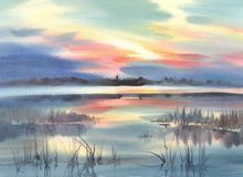 Ein See im Abendlichtlandschaftsaquarellhintergrund Lizenzfreie Stockbilder