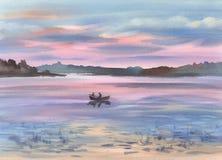 Ein See im Abendlichtlandschaftsaquarellhintergrund Stockfotos