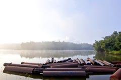 Ein See im Nebel, der Morgen Stockbild