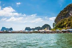 Ein Seezigeunerdorf an Phangnga-Bucht, Thailand Lizenzfreies Stockbild