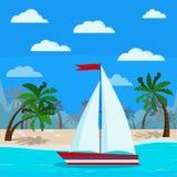 Ein Segelbootbild auf schöner blauer Seelandschaft lizenzfreie abbildung