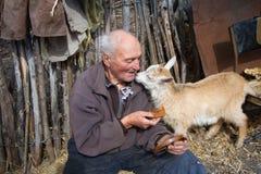 Ein sehr alter Mann in der unordentlichen Kleidung sitzt auf einem Schemel im Yard eines alten Bauernhofes und h?lt eine wei?e Zi lizenzfreie stockfotos