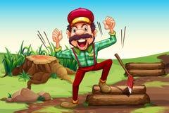 Ein sehr glücklicher Holzfäller nahe dem Stumpf stock abbildung