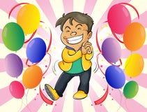 Ein sehr glücklicher Mann mit Ballonen lizenzfreie abbildung