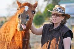 Ein sehr lustiges Gesicht des Pferds seine Zunge heraus stoßend Stockbild