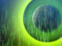 Ein Seitenschatten Erdplanet abstrakter Matrixglühenhintergrund Stockfotografie