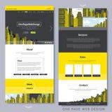 Ein Seitenwebsitedesign mit gelber Stadtszene Stockbild