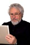 Senior- und Tablette-PC Stockfoto