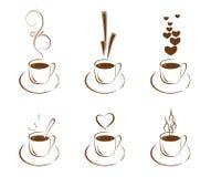 Ein Set Cup mit Kaffee Stockfotografie
