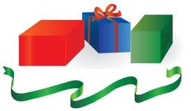 Ein Set Geschenkkästen lizenzfreie abbildung