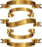 Ein Set Goldfahnen Lizenzfreie Stockbilder