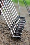 Ein Set Golfclubs stockbild
