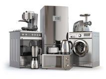 Ein Set Ikonen der Küchegeräte für Ihre Auslegung Gaskocher, Kühlschrank, Mikrowelle und washi vektor abbildung