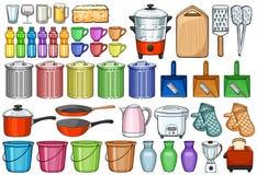 Ein Set Ikonen der Küchegeräte für Ihre Auslegung Lizenzfreie Stockfotografie