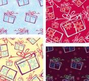 Ein Set nahtlose Muster. Weihnachtsgeschenke. Stockbild