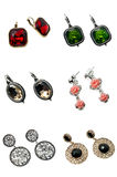 Ein Set Ohrringe Stockbilder