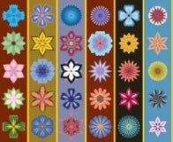 Ein Set stilisiert Blumen. Nahtloser Hintergrund Stockfoto