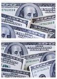 Ein Set von zwei 100 Dollarschein-Hintergründen Lizenzfreie Stockbilder