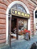 Ein Shop in der europäischen Stadt St Petersburg, Russland Lizenzfreies Stockbild