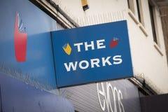 Ein Shopzeichen für die Arbeiten - Scunthorpe, Lincolnshire, vereinigter Stamm Lizenzfreies Stockbild