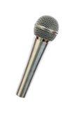 ein silbernes drahtloses Mikrofon lokalisiert auf Weiß Lizenzfreies Stockfoto