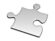 Ein silbernes Puzzlespiel getrennt auf Weiß Stockbilder