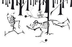 Ein skeleton Rennen im Holz Stockfotos