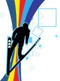Ein Skifahrer-Spieler stock abbildung