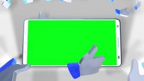 Ein Smartphone mit grünem Schirm mitten in Gleichen mit den Daumen oben stock abbildung