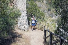 Ein sonnen-durchnäßter Weg zum Gipfel Lizenzfreies Stockbild