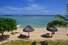 Ein Sonnenbad nehmende Ferien an einem Luxus-Resort in Le Morne Beach, Mauritius stockbild