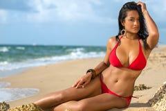 Ein Sonnenbad nehmender Brunette Stockbild