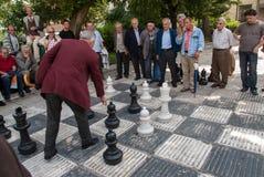 Ein Spiel des Schachs in Sarajevo, Bosnien und Herzegowina Lizenzfreies Stockbild