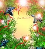 Ein Spielzeug auf einem Pelzbaum mit Porzellan Santa Claus und Tannenbaum glückliches neues Jahr 2007 Lizenzfreies Stockbild
