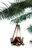 Ein Spielzeug auf einem Pelzbaum mit Porzellan Santa Claus und Tannenbaum Jahrhundert 19 Stockfotografie