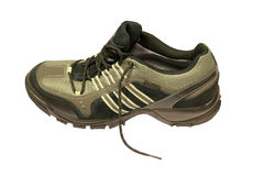 Ein sportlicher Schuh über Weiß Stockfoto