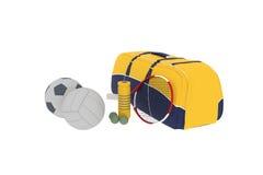 Ein Sportsatz ist eine Tasche und Bälle Lizenzfreie Stockbilder