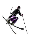 Ein springendes Schattenbild Frauenskifahrer Freestyler Stockbilder