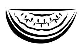 Ein Stück der Wassermelone mit Steinen, ein Muster von schwarzen Linien Stockbild
