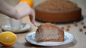 Ein Stück des selbst gemachten Kuchens stock video footage